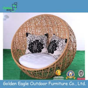 New PE Rattan Round Outdoor Sunbed pictures & photos