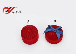 Round Shape Red Velvet Ring Box pictures & photos