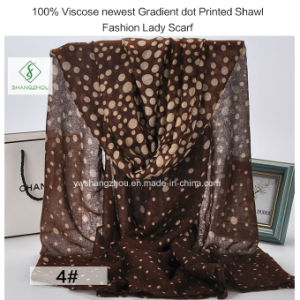100% Viscose Newest Gradient DOT Printed Shawl Fashion Lady Scarf pictures & photos