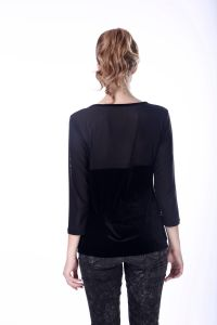 Women Blouse 2017 Two Tone Black Mesh and Velvet Blouse pictures & photos