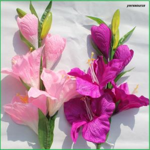 Real Touch Pink Artificial Flower Fake Lily for Home Wedding Decoration pictures & photos