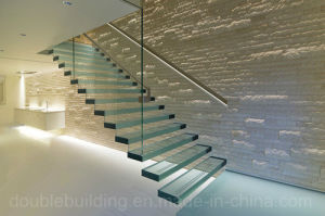 Customized Glass Staircase Floating Glass Stairs with LED Light pictures & photos