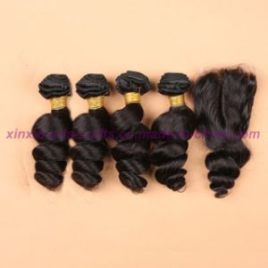 8A Brazilian Loose Wave Bundles with Closure 3 or 4 Bundles Virgin Hair with Lace Closure