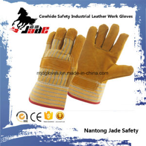 9.5 Full Palm Industrial Safety Yellow Cowhide Leather Work Gloves pictures & photos
