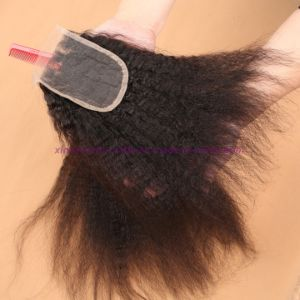 Peruvian Kinky Straight Lace Closure with Baby Hair 4X4 Coarse Yaki Lace Closure pictures & photos