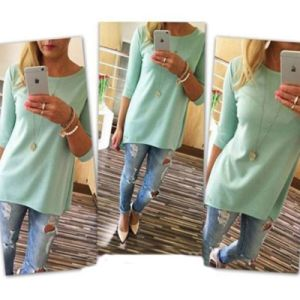 1PCS Ladies Female Beach Casual Tunics Women′s Fashion Shirt 3/4 Sleeve Long Tops Women Cloth pictures & photos