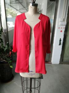 Spring Bright Pink Attractive Long Sleeve Standing Collar Ladies Shirt pictures & photos