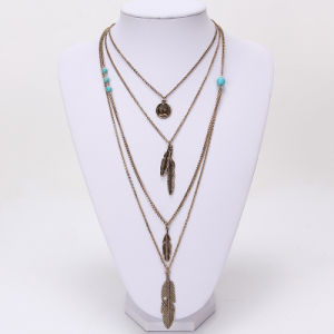 Multiple Feathers Long Necklace Fashion Coin Turquoise Alloy Pendant Necklace Jewelry pictures & photos