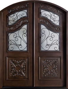 Home Double Front Entrance Wrought Iron Glass Mahogany Door (GSP1-037) pictures & photos