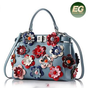 2017 New Style 100% Genuine Leather Handbag Stylish Lady Shoulder Bags with Colorful Flower Emg5049 pictures & photos