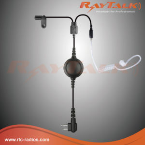 2 Wire Surveillance Earpiece with Metal Casing Lapel Mic for Two Way Radios pictures & photos