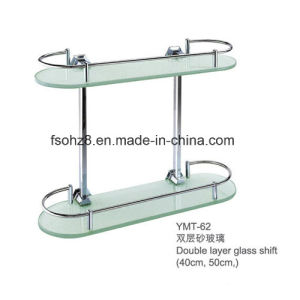 Double Layer Tempered Bathroom Glass Shelf with Rail (YMT-62) pictures & photos
