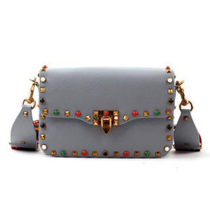 2017 Fashion Studded Women′s Bag Wide Colorful Strap Genuine Leather Hand Bag Lady Designer Handbag Emg4768 pictures & photos