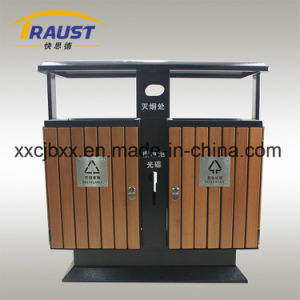 Outdoor Classification Curbside Litter Bins, Wood and Iron Trash Bin pictures & photos