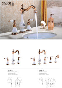 New Design Ceramic Antique Three-Hole Basin Faucet (Zf-607-1) pictures & photos