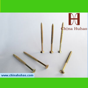 Screw/Zinc Coated Yellow Color Pozi Driive Csk Head Chipboard Screw pictures & photos