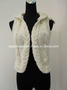 Lady′s Hand-Knitted Hooded Sleeveless Cardigan Sweater