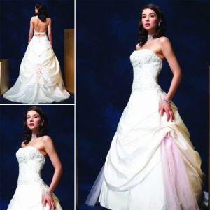 Taffeta Strapless Appliqued Bodice Wedding Dress (L010)