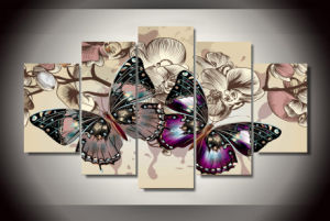 HD Printed Flower Butterfly Painting Canvas Print Room Decor Print Poster Picture Canvas Mc-092 pictures & photos