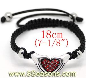 Silver Tone Pave Red Rhinestone Heart Hand Beads & Copper Beads & Black Braiding Adjustable Bracelets Fit Shamballa