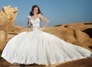 Straples Wedding Ball Gown Lace Tulle Crystals Bridal Wedding Dress H149