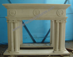 Stone Fireplace for Carved Marble Mantel (QY-LE023) pictures & photos