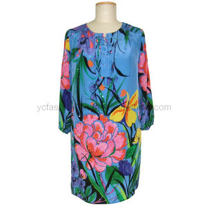 Ladies Silk CDC Printed Dress