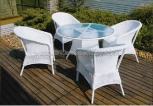 White Rattan Table Chair Set (7116)
