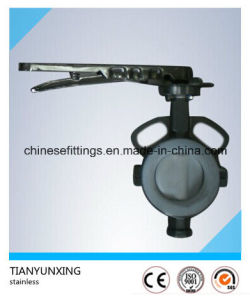 API Cast Steel Wafer PTFE Lining Split Body Butterfly Valve pictures & photos