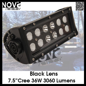 7.5inch 36W CREE Double Row LED Light Bar with Black Lens