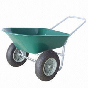 Wheelbarrow with Two Pneumatic Wheels and Plastic Tray