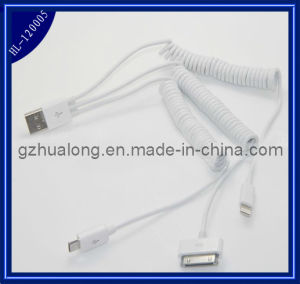 3 in 1 Retractable USB Spring Cable for iPhone4/5 /Samsung