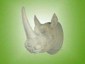 Wooden Carving Rhinoceros Head Wall Plaque (EF-8451-7)