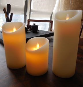 Dancing Flameless 3.5′′ Ivory Wax Pillar Candles