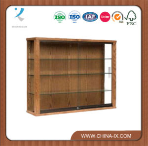 Wooden Rectangular Wall Mounted Display Stand with Sliding Door pictures & photos