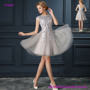 Beautiful Swan Shaped Boat Neck Cap Sleeves Short Evening Dress pictures & photos