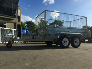 Hot Dipped Galvanized Heavy Duty Hydraulic Tandem Trailer with Cage pictures & photos