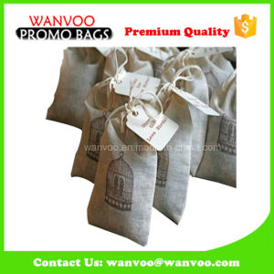 Cheap Price Customized Logo Jute Tea Bag with Drawstring pictures & photos