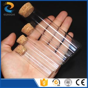 Customized Flat Bottom Glass Test Tube with Cork Lid Stopper