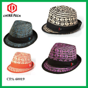 Straw Fedora Hats with Braid and Ribbon (CPA_60114) pictures & photos