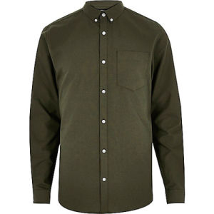 Khaki Green Cotton Oxford Men Long Sleeve Shirt pictures & photos