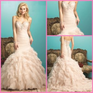 Blush Pink Tulle Bridal Wedding Gowns Sweetheart Beads Mermaid Wedding Dresses Au9267 pictures & photos