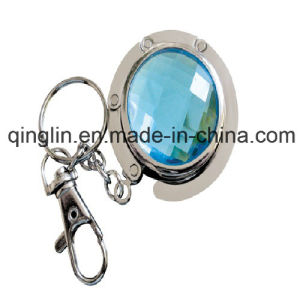 Promotional Crystal Acryl Stone Metal Purse Hanger with Keychain (G-076) pictures & photos