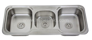 45-1/4 X 18-7/8 Inch Stainless Steel Top Mount Triple Bowl Drain Board Kitchen Sink pictures & photos