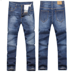Men′s Denim Slightly Stretch Straight Fit Cotton Trousers