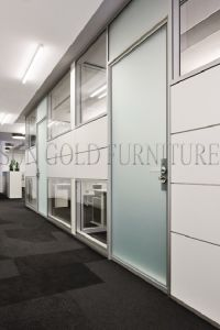 Newest Soundproof Office Partition Frosted Glass Wall With Doors (SZ WS640)