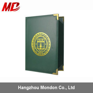PU Forest Green Custom Graduation Diploma Cover with Four Golden Corners-Book Style pictures & photos