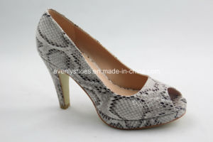 Snake Pattern Peep Toe Fashion Dress High Heel Lady Shoes pictures & photos