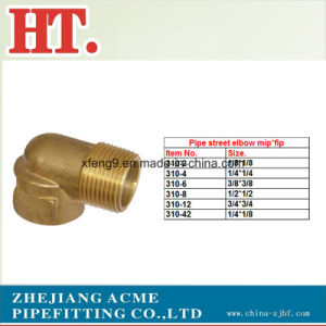 NPT Brass Pipe Fitting 90 Degree Street Elbow (MIP X FIP) pictures & photos