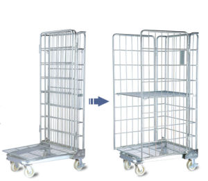 Folding Warehouse Storage Wire Mesh Trolley pictures & photos